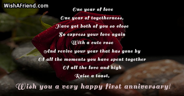 Flowers 1 year dating anniversary poems
