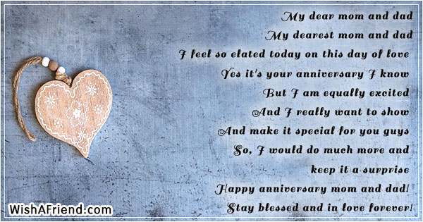 30th Wedding Anniversary Gifts For Mum And Dad: My Dear Mom And Dad , Anniversary Poem For Parents