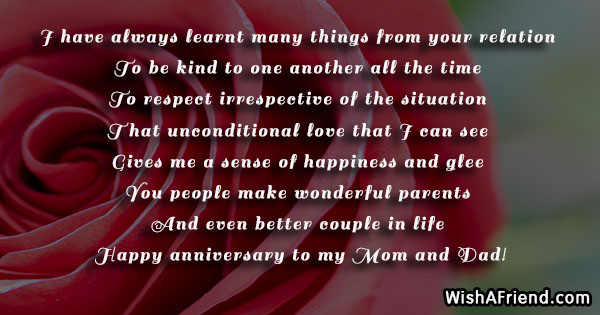 I have always learnt many things anniversary message for parents