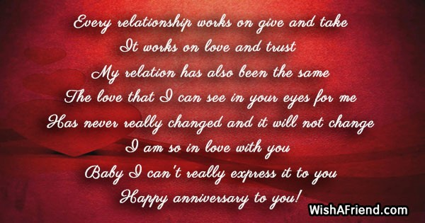 Every relationship works on give and, Anniversary Message