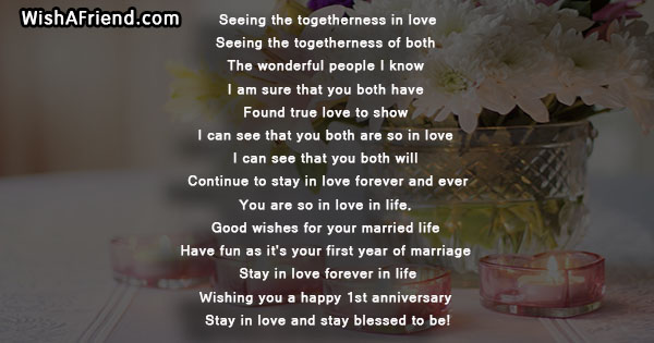 Seeing the togetherness in love first anniversary poem