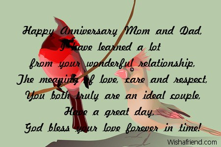 Wedding anniversary wishes for mom and dad