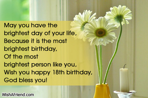 May you have the brightest day 18th Birthday Wishes – Birthday Greetings for 18th Birthday