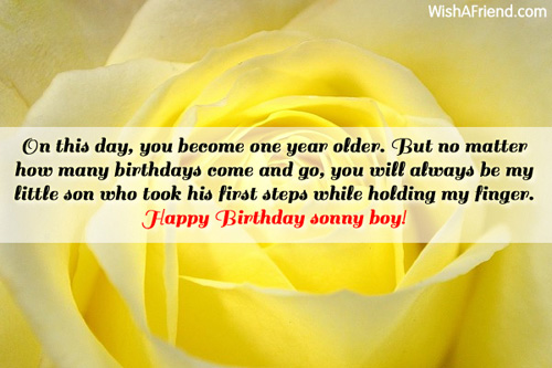 On this day you become one birthday wish for son