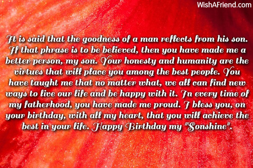 it is said that the goodness son birthday message