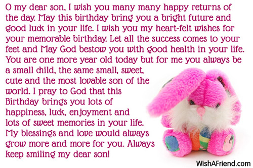 O My Dear Son I Wish Birthday Message