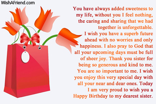 Sister Birthday Messages Page 6 – Birthday Greetings for Sister Message