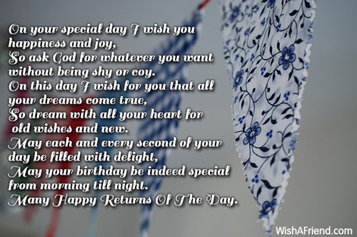 On This Special Day I Wish You   , Happy Birthday Poem