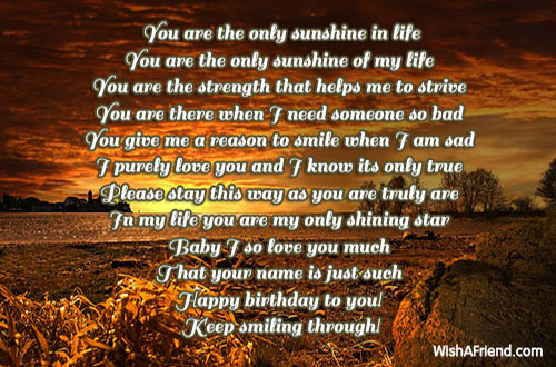 You Are The Only Sunshine In Life Love Birthday Poem