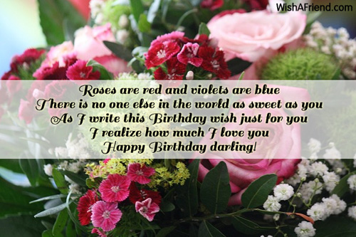 Roses are red and violets are Boyfriend Birthday Message