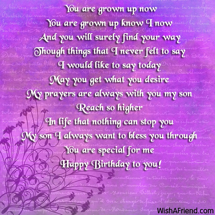 Happy Birthday To My Son Images And Quotes: Son Birthday Poems