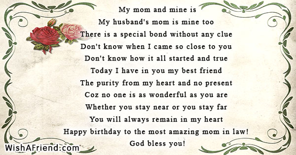 My mom and mine is , Birthday Poem For Mother-in-Law