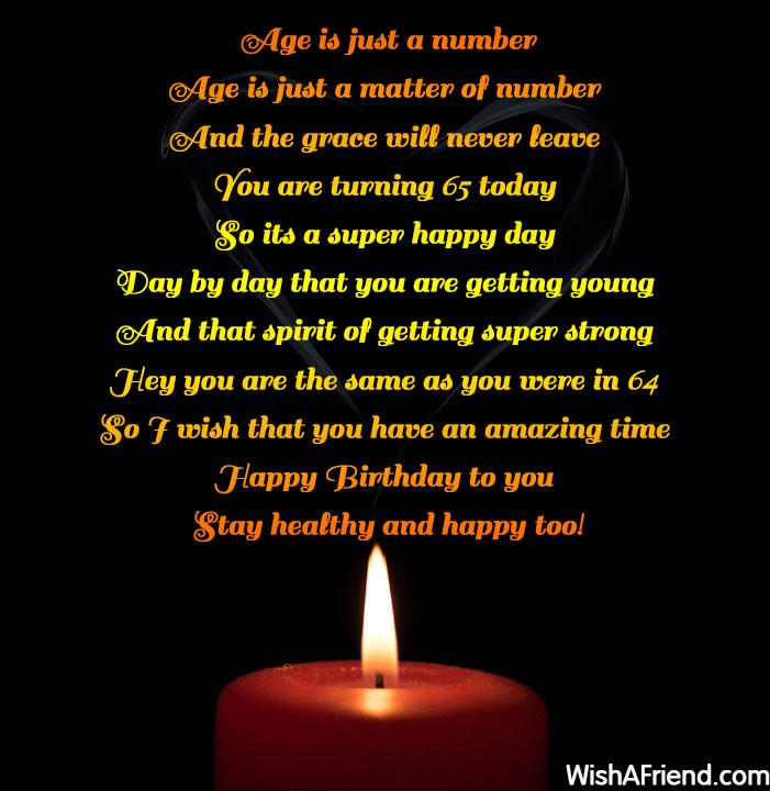 Happy 64 Birthday Quotes: 65th Birthday Poems