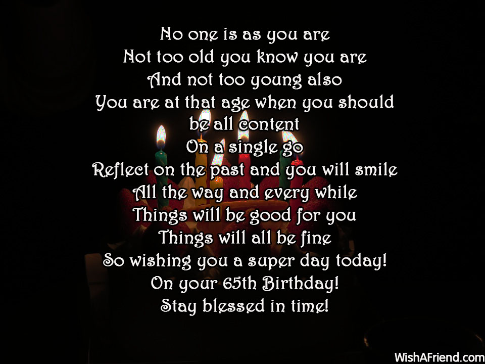 No One Is As You Are 65th Birthday Poem