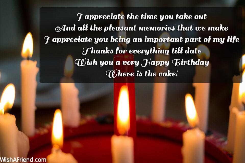 I Appreciate The Time You Take, Cute Birthday Saying