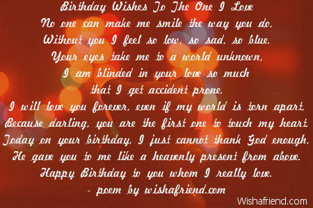 Love birthday poems birthday wishes to the one i love m4hsunfo