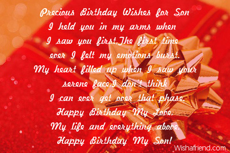 Son birthday poems precious birthday wishes for son m4hsunfo