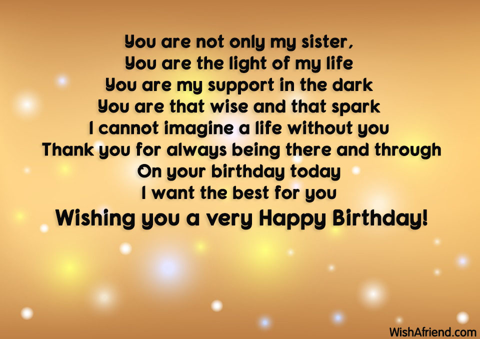 Thank You For Being My Sister Quotes: Birthday Wishes For Sister