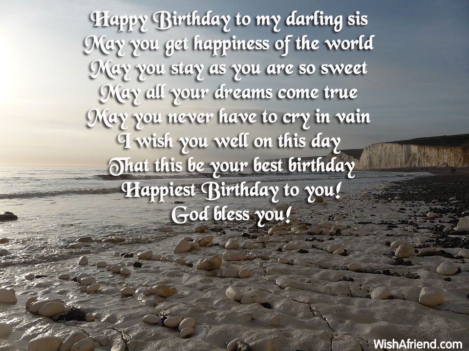 Happy birthday to my darling sis, Birthday Wish For Sister
