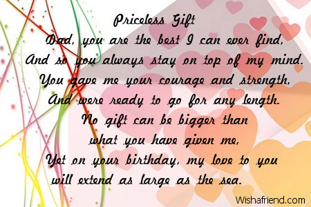 Priceless Gift Dad Birthday Poem