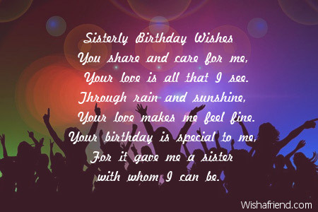 Sister Birthday Poems – Birthday Greeting Poems