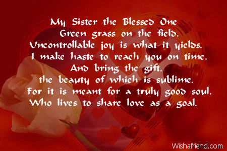 Poems For my Sisters my Sister The Blessed One