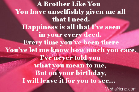 Brother Birthday Poems