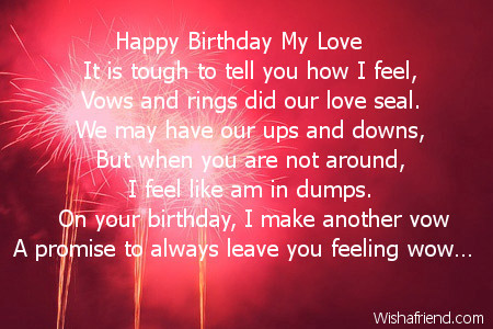 Happy Birthday My Love, Wife Birthday Poem