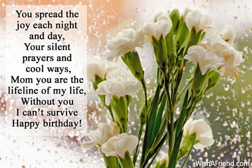 Happy Birthday Message And Prayer ~ You spread the joy each night mom birthday message