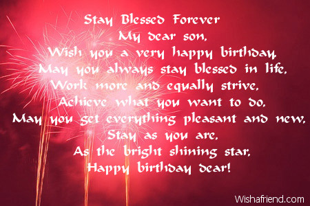 Stay Blessed Forever , Son Birthday Poem