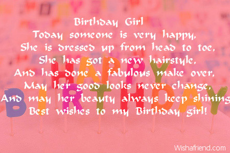 How to write a birthday poem for a girl