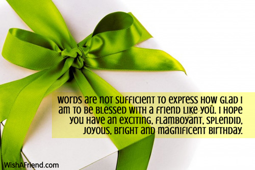 Words are not sufficient to express, Best Friend Birthday Wish
