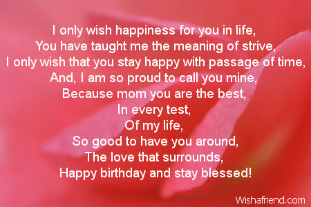Mom Birthday Poems – Birthday Greetings to My Mom