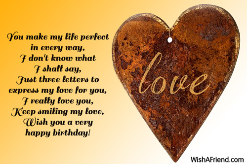You make my life perfect in, Love Birthday Message