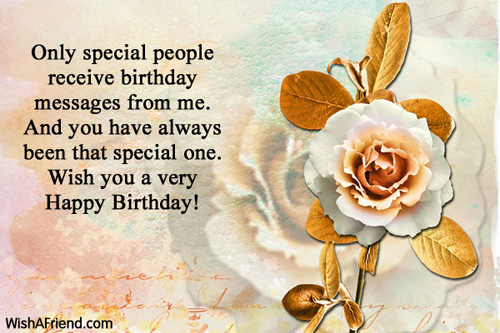 Only special people receive birthday messages, Happy