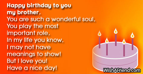 To you bro, Brother Birthday Poem
