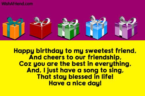 happy birthday to my sweetest friend and best friend birthday wish