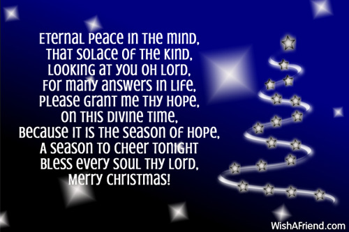 Religious Christmas Poems.Peace In The Mind Christian Christmas Poem