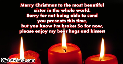 Merry christmas to the most beautiful christmas message for sister 16303 christmas messages for sister m4hsunfo
