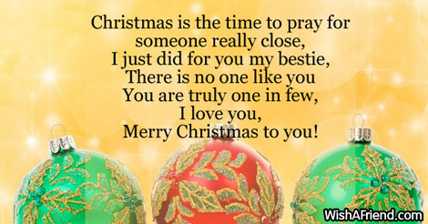 Christmas is the time to pray, Christmas Message for Friends