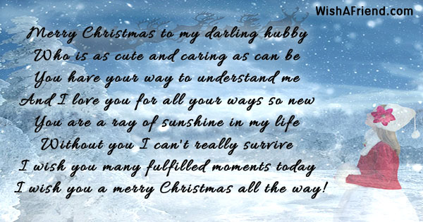 merry christmas to my darling hubby christmas message for