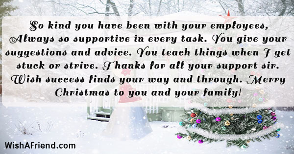 Christmas Message To Employees.So Kind You Have Been With Christmas Message For Boss