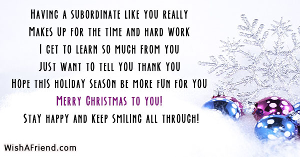 Having a subordinate like you really, Christmas messages ...