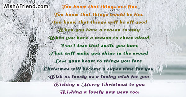 You know that things are fine, Funny Christmas Poem