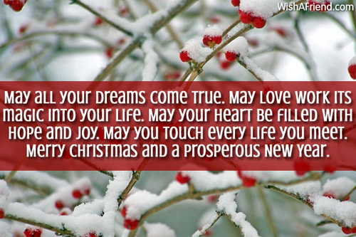 May all your dreams come true., Christmas Blessings