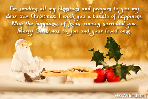 I'm sending all my blessings and, Christmas Blessings