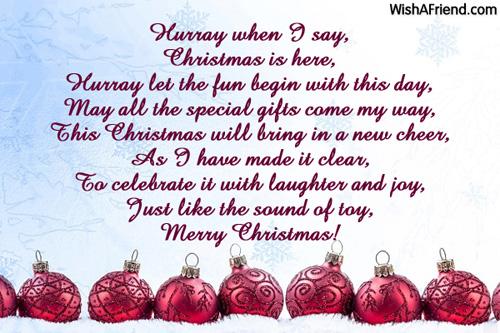 Children Christmas Poem.When I Say Hurray Christmas Poem For Children