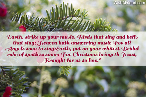 Earth, strike up your music, Birds, Merry Christmas Quote