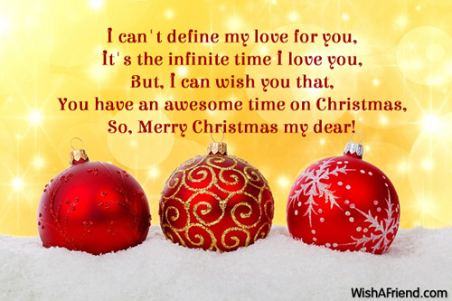 I can't define my love for, Christmas Message for Girlfriend