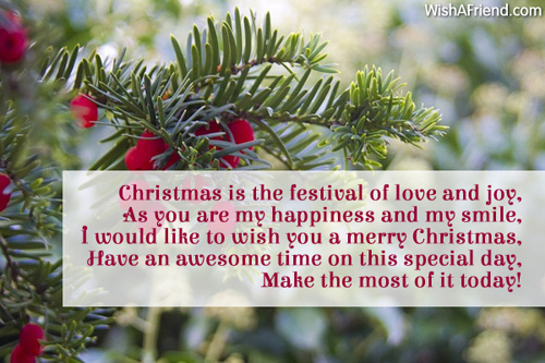 Christmas is the festival of love, Christmas Message for Boyfriend
